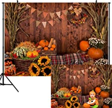 DULUDA 9X6FT Fall Thanksgiving Photography Backdrop Rustic Wooden Floor Barn Harvest Background Autumn Pumpkins Maple Leaves Sunflower Baby Portrait Party Decoration Photo Studio Booth Props HW45B