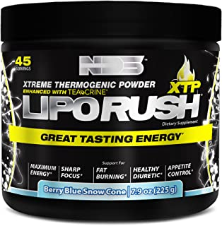 NDS Nutrition LipoRush XTP - Extreme Thermogenic Fat Burning Powder Enchanced With L-Carnitine And Teacrine - Maximum Energy, Sharp Focus, Appetite Control - Blue Berry Snow Cone - 45 Servings