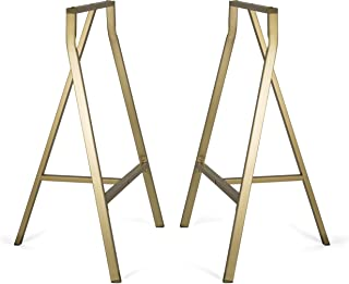 BHG Sturdy Crosscut Trestle Table Legs 28 Inch Perfect for Home Office Desk Work Station or Table Gold Pack of 2