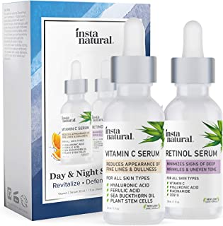 Day & Night Duo Bundle - Vitamin C Serum & Retinol Serum - Natural & Organic Anti Aging Formula for Face - Improve Skin Texture & Glow - Reduce Fine Lines Dark Spots Hyperpigmentation - InstaNatural