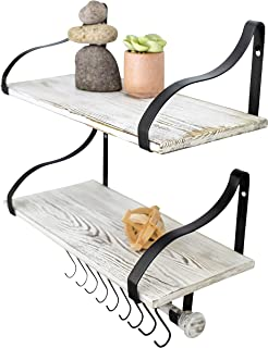 """Wall Mounted Floating Spice Shelves with Towel Bar and Removable Hooks, Solid Wood, Rustic Shelving Storage, for Kitchens, Bathrooms and More, Farmhouse Wall Décor, 16.75"""" long x 7.5"""", Set of 2"""