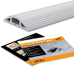 Floor 10 Ft Gray Cord Protector Covers Cables, Cords, or Wires - 3 Channel Grey On Floor Raceway for Sidewalks or Walkway...