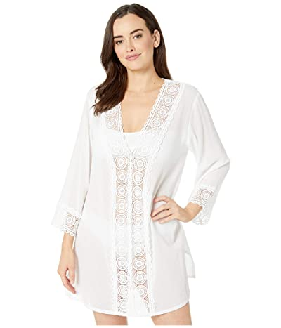 La Blanca Island Fare V-Neck Tunic Cover-Up (White) Women
