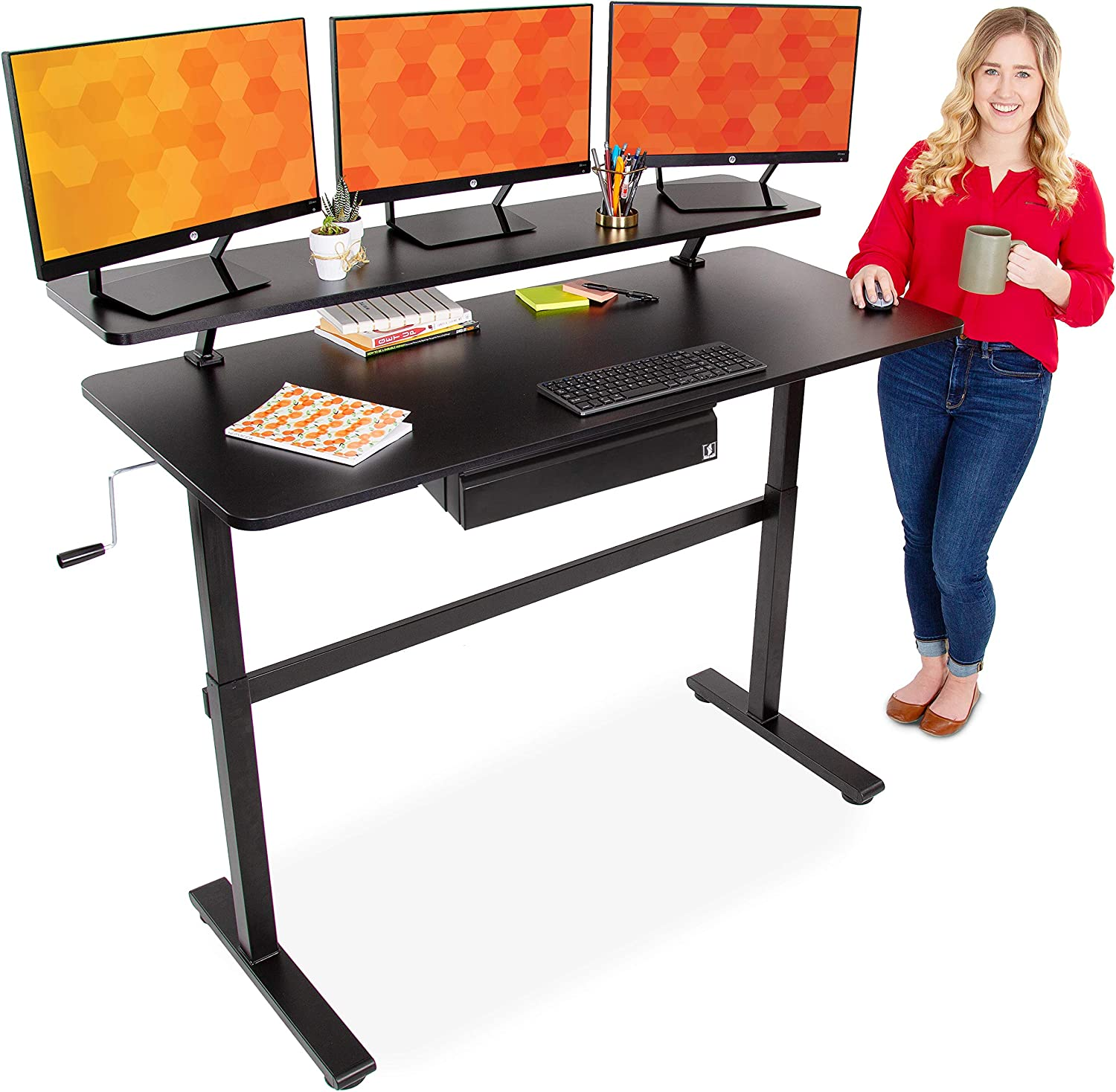 Stand Steady Tranzendesk 55 Inch Standing Desk with Clamp On Shelf & Under Desk Drawer | Easy Crank Height Adjustable Stand Up Workstation with Attachable Monitor Riser & Extra Storage (55 in/Black)