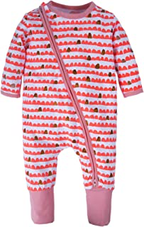 BIG ELEPHANT Baby Girls'1 Piece Long Sleeve Pajama Flower Print Zipper Romper