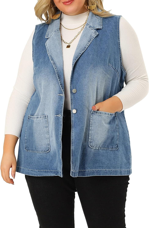 Agnes Orinda Plus Size Denim Vests for Women Sleeveless Lapel Casual Chambray Jacket Vest