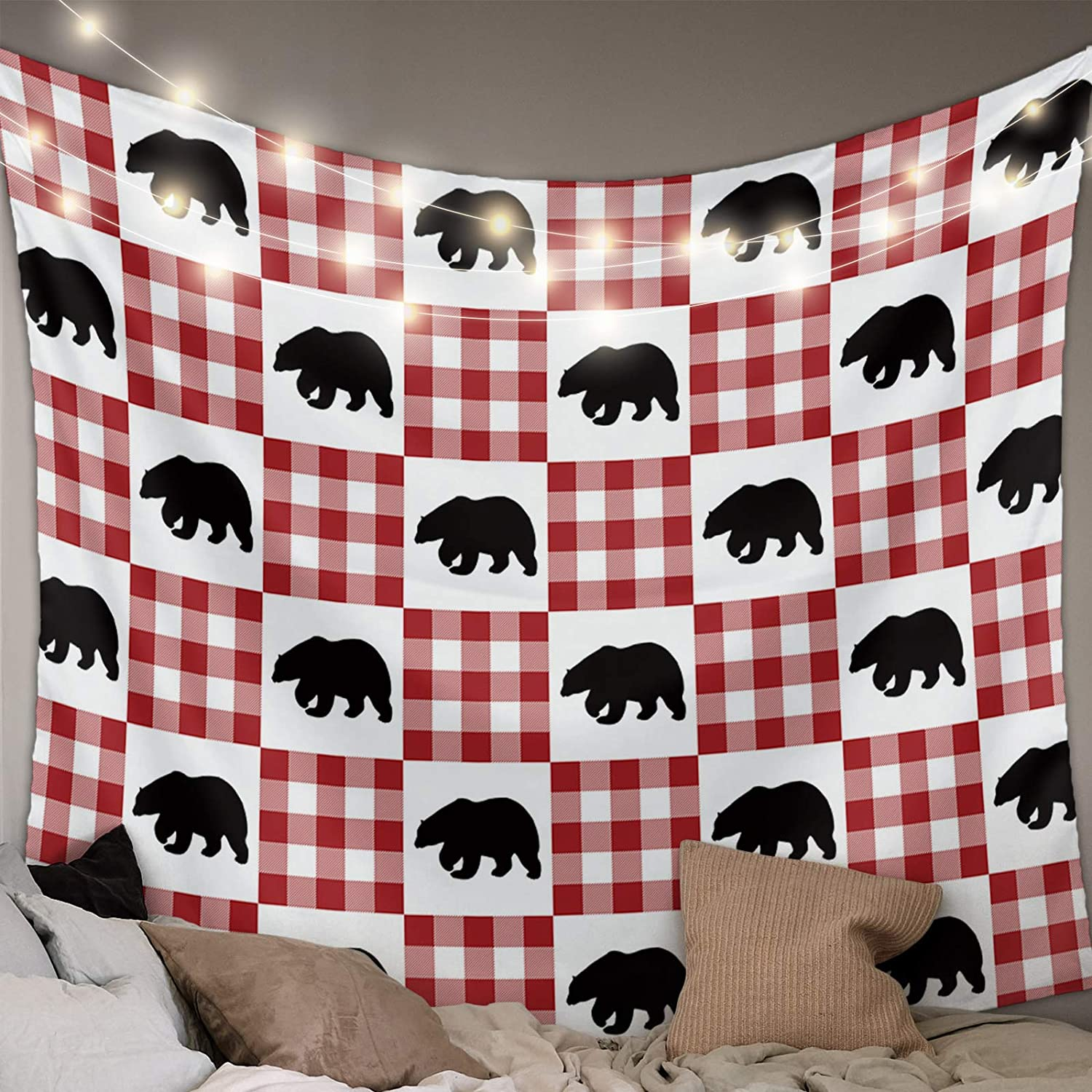 Womenfocus WallHangingTapestries Max 79% OFF Polar Bear Complete Free Shipping Red GridArtP on
