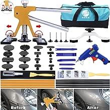 GLISTON 45pcs Paintless Dent Repair Tool Dent Puller Kit, Adjustable Width, Pops a Dent Car Dent Removal Kit, Golden Lifter, Bridge Puller& Glue Gun for Automobile Body Motorcycle Refrigerator