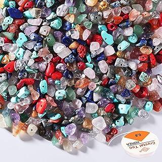 SOSMAR Natural Chip Gemstone Beads+ Beading Threads for DIY Bracelets Necklace Jewelry Making, Irregular Crystal Pieces Mi...