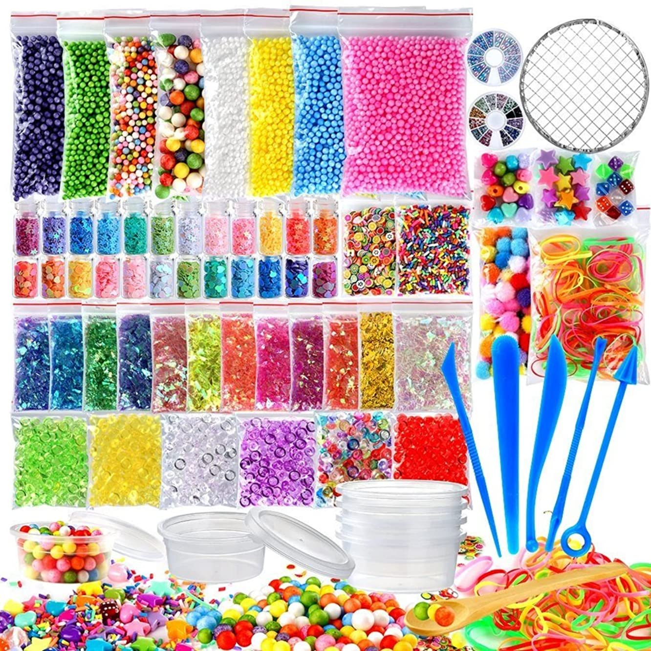 72 Pack Slime Supplies Kit Include Foam Balls, Fishbowl Beads, Net, Glitter Jars, Pearls, Sugar Paper, Storage Containers, Slime Tools Slime Beads Charms for DIY Slime Making Art Craft Party Decor