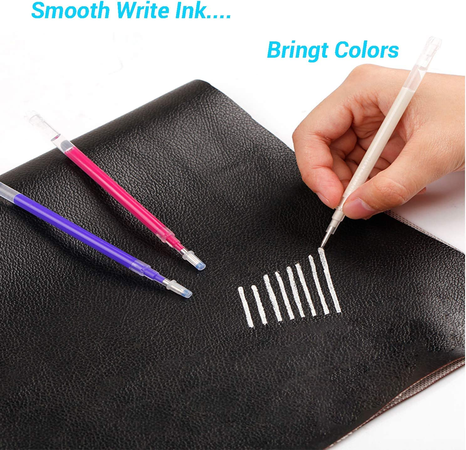 WedFeir Heat Erasable Fabric Marking Pens with 28 Refills for Tailors Sewing, and Quilting Dressmaking, 4 Colors Heat Erase Pens of Fabrics.