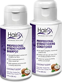 HairRx Professional Strengthening Shampoo & Conditioner Travel Set, Luxurious Lather, Coconut Scent, 2 Ounce Bottles