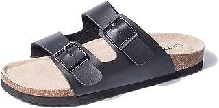 Women Arizona 2-Strap Adjustable Buckle, Flat Casual Cork Slide Sandals,Slide Cork Footbed Sandals for Women/Ladies/Girls