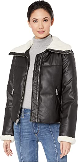Faux Leather Puffer with Sherpa