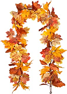 Lvydec 2 Pack Maple Leaves Fall Garland - 5.8ft/Strand Artificial Fall Foliage Garland Colorful Autumn Decoration for Home...