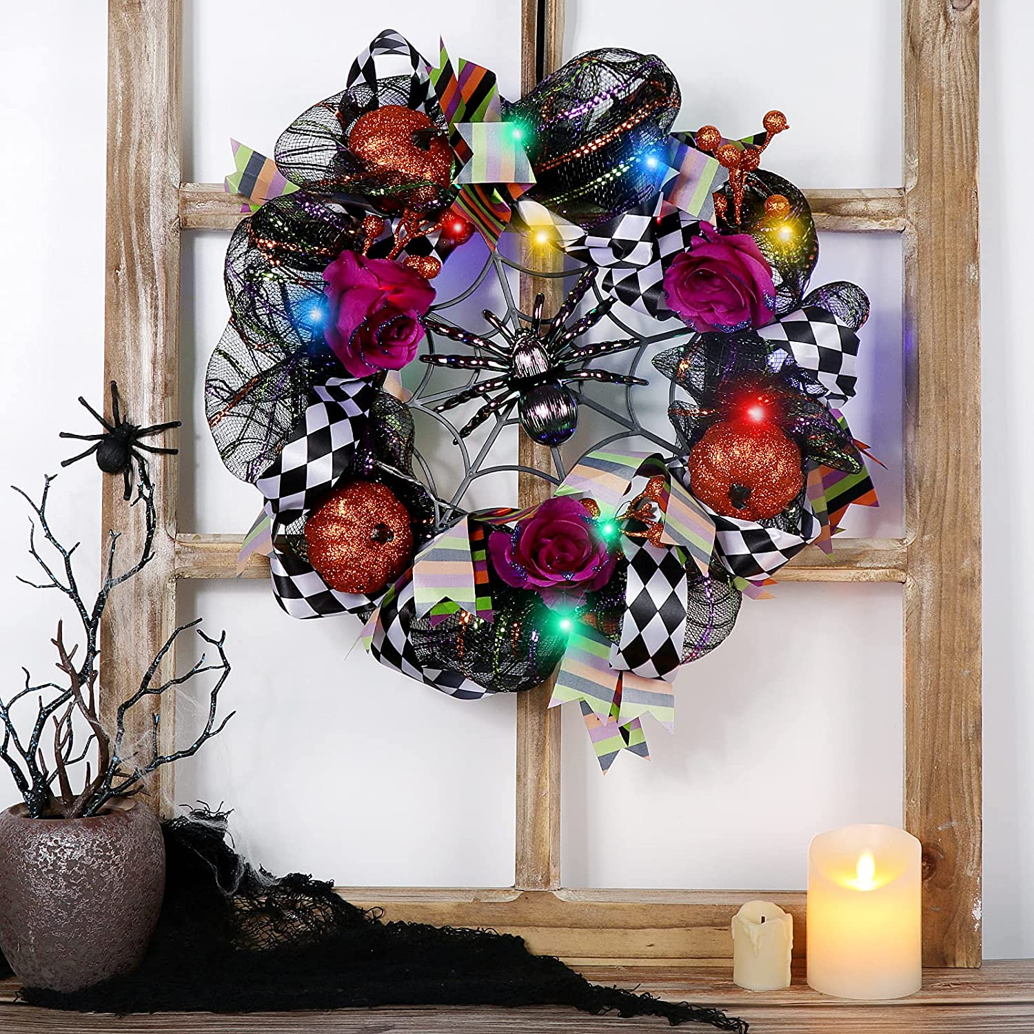 PIKRONSH latest New color 16 Inch Halloween Wreath Deco Lights with Mesh