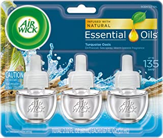 Air Wick plug in Scented Oil 3 Refills, Turquoise Oasis, (3x0.67oz), Essential Oils, Air Freshener
