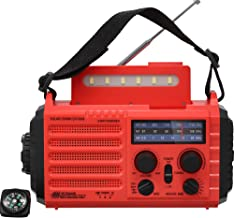 Emergency Solar Crank Portable Radio, Weather Radio for Household and Outdoor Emergency with AM/FM/SW/NOAA,5-Way Charging, Flashlight, Reading Lamp and SOS Alarm, 2000mAh Rechargeable Battery