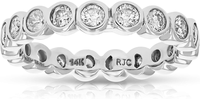 Vir Jewels 1.50 cttw Diamond Eternity Ring Wedding Band 14K White Gold Bezel Set