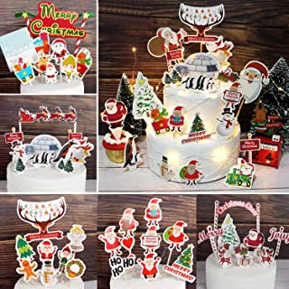 Christmas Cupcakes Toppers Christmas Shoes/Snowman/Bell/Chocolate Santa Claus/Santa Claus and Deer/Santa Claus and Christm...