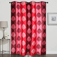 Homely Eyelet Motif Polyester 7 ft Door Curtain -Red