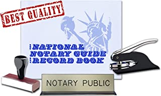 New Jersey Notary Public Desk Sign, Record Book, Black Pocket Seal Embosser, Traditional Rubber Hand Stamp Value Package