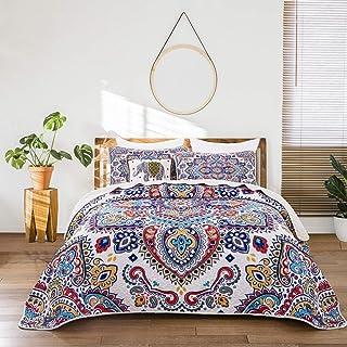 ENCOFT 3 Teilig Bettwäscheset Polyester 230  250 cm Tagesdecke Bettüberwurf Steppdecke Patchwork Bettdecke Doppelbett 230 x 250 cm, Blau