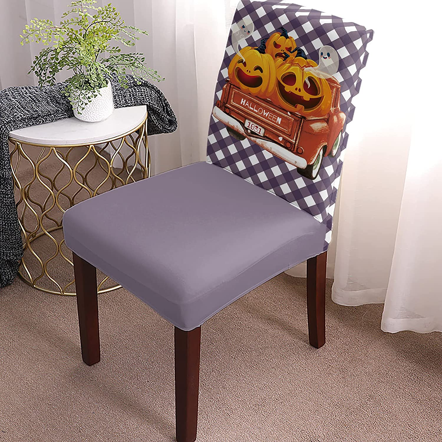 Dining Chair Store Covers Slipcovers Set Grimace 6 Cheap bargain Halloween of Happy