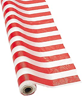 Fun Express Red and White Striped Tablecloth Roll (100 ft) Circus Carnival Party Supplies