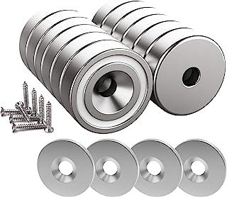 Magnetpro 12 stuks magneet 10 KG Force 20 x 7 mm met verzonken gat en stalen capsule, potmagneten met schroeven en 12 stal...
