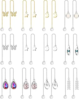 FIBO STEEL 6-12 Pairs Threader Tassel Earrings Crystal Drop Dangle Earring for Women Pearl Ball Drop Long Chain Ear Thread...