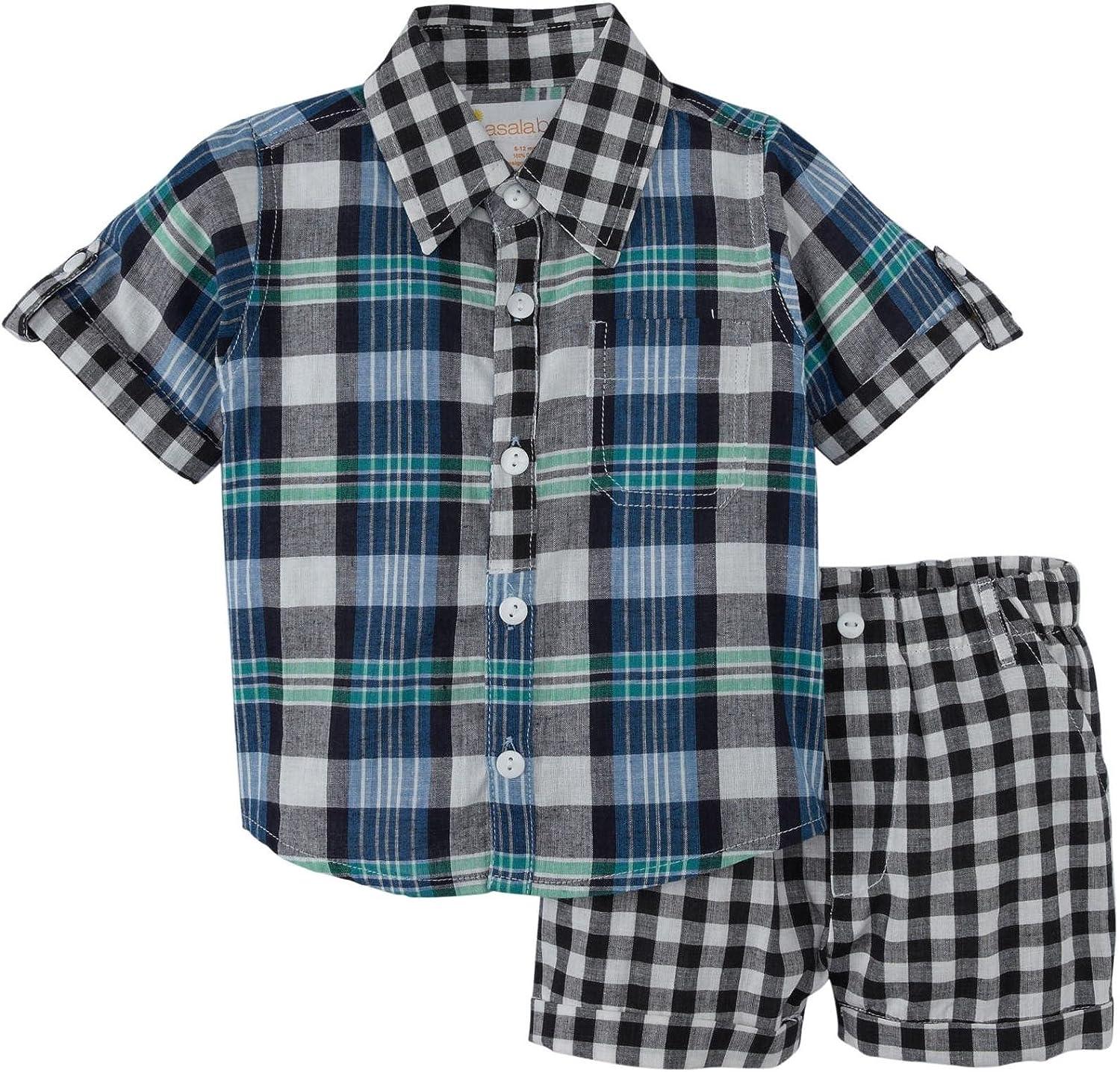 Masala Neat Shirt 2 Piece Set (Baby) Navy