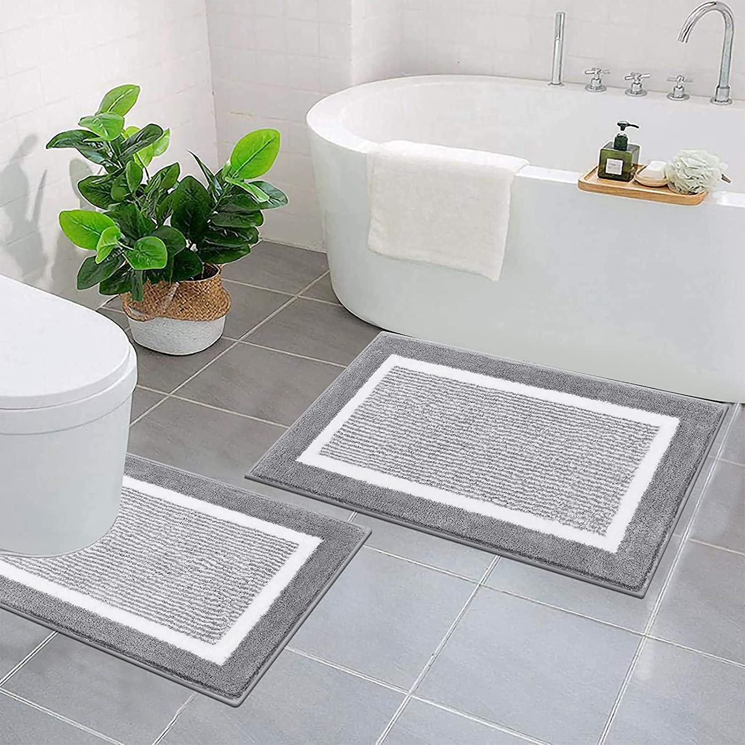 HEBE Bath In a popularity Rug Set 2 Piece Non Mat Thick Contour OFFicial mail order and To Slip
