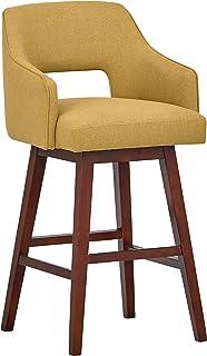 Marca Amazon -Rivet Malida - Taburete de bar con asiento giratorio y respaldo abierto estilo Mid-century, 104,1 cm de alto (amarillo canario)