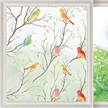 Privacy Window Film Non-Adhesive Frosted Bird Window Clings Vinyl Window Decals for Glass Room Decor Home Office Bathroom ...