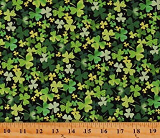 Good Luck Three Leaf Clover Saint Patrick/'s Day  Cotton Fabric By The Yard