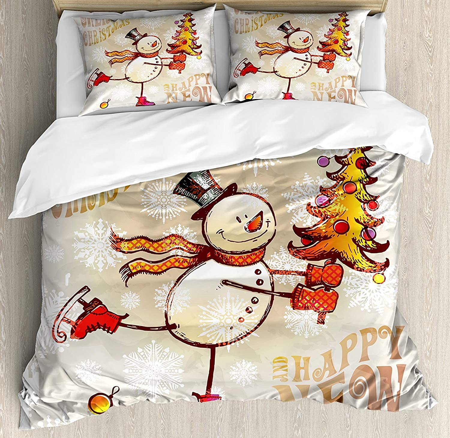 Christmas Duvet Cover Set, Luxury Soft Hotel Quality 4 Piece King Plush Microfiber Bedding Sets, Skating Happy Snowman with Christmas Tree Cheerful Hand Drawn Ornate Snowflakes