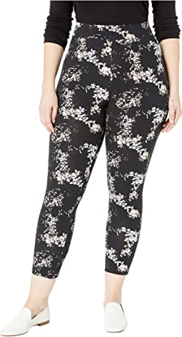 Plus Size Watercolor Floral Cotton Capri Leggings