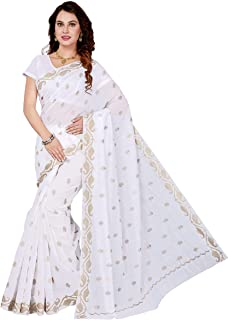 ecb832b17efc50 Maliqua Poly Cotton Embroidered Saree with Blouse Piece (SKR4930_White)