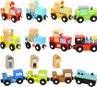 Wooden Trains 21 PCS with Detachable Figures - Train Toys Magnetic Train Set for Toddler's Gift for Christmas and Birthday for Boys and Girls - Compatible with Thomas Wooden Train Set - Train Tracks