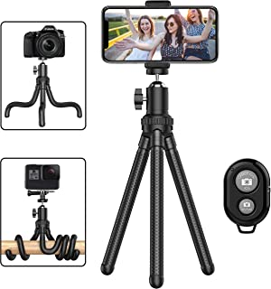 Phone Tripod, Portable Cell Phone Camera Tripod Stand with Wireless Remote, Flexible Tripod Stand for Selfies/Vlogging/Str...