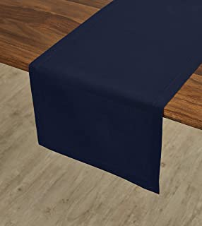 Solino Home Dru Cotton Linen Table Runner – 14 x 72 Inch, Navy Table Runner - Natural Fabric Machine Washable