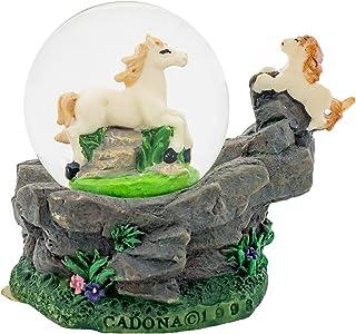 تمثال صغير من الراتنج مقاس 3 × 3 من كادونا انترناشيونال إنك. وايت هورسز 3 × 3 مصغرة من حجر الراتينج 45 مم طاولة الكرة الأرضية
