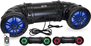 Belva BPS8RGB 600W Bluetooth Enabled Dual 8-inch ATV/UTV/Powersports Sound System with LED Lights and Remote