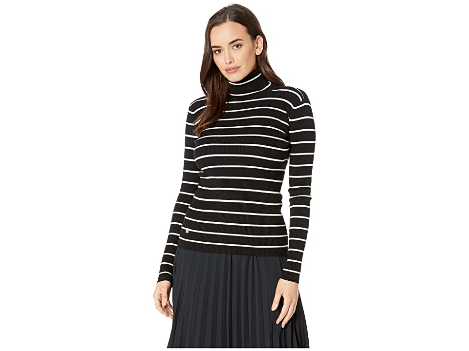LAUREN Ralph Lauren Striped Turtleneck Sweater (Polo Black/Mascarpone Cream) Women
