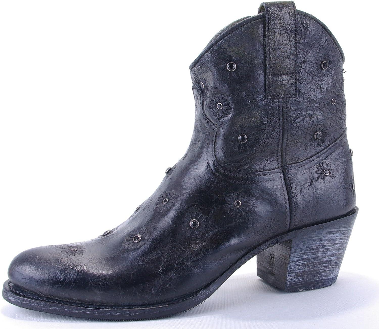 Sendra Stiefel Damen Cowboy Stiefel Kurzstiefel schwarz schwarz schwarz Vintage mit Ziersteinen und Zierstickerei in Blütenform - individuell und ausgefallen  d956f6