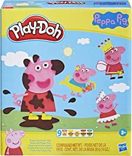 Play-Doh Peppa Pig Stylin-set met 9 niet-giftige potjes boetseerklei en 11 accessoires, Peppa Pig-speelgoed voor kinderen ...