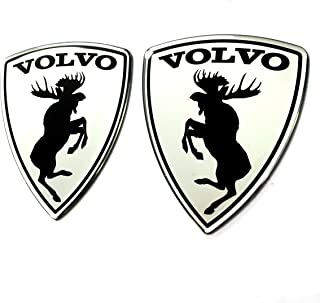 Alstickers! 30 Years Warranty! 3D Aluminum-polyutethane car Stickers Prancing Moose (ELK) Volvo Set 2 Pieces Glossy, Size 2.83