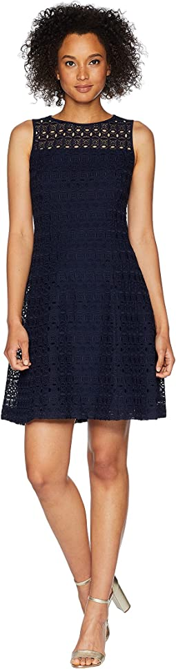 LAUREN Ralph Lauren 148H Embroidered Mondriana Sleeveless Day Dress