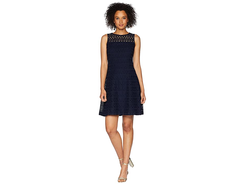 LAUREN Ralph Lauren 148H Embroidered Mondriana Sleeveless Day Dress (Lighthouse Navy) Women